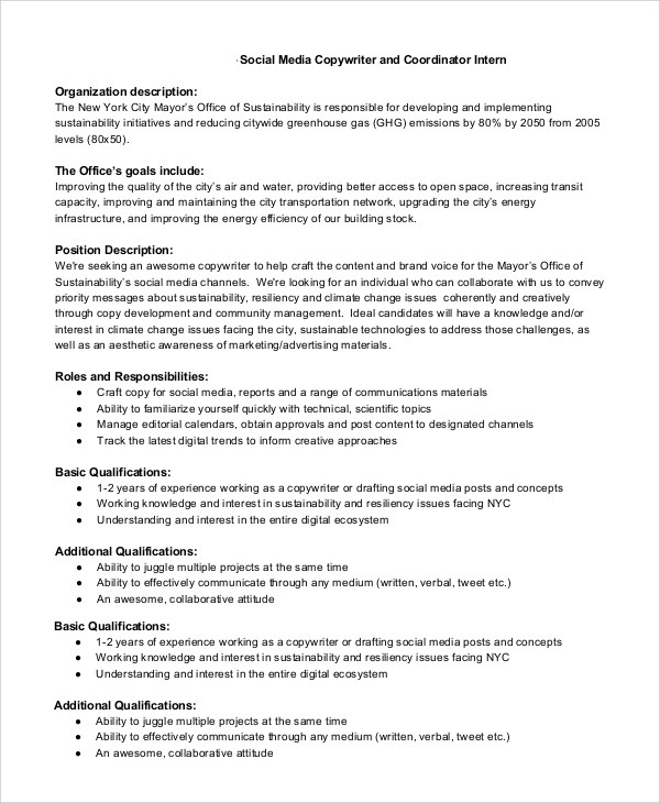 Sample Copywriter Job Description - 11+ Examples in PDF, Word - office intern job description