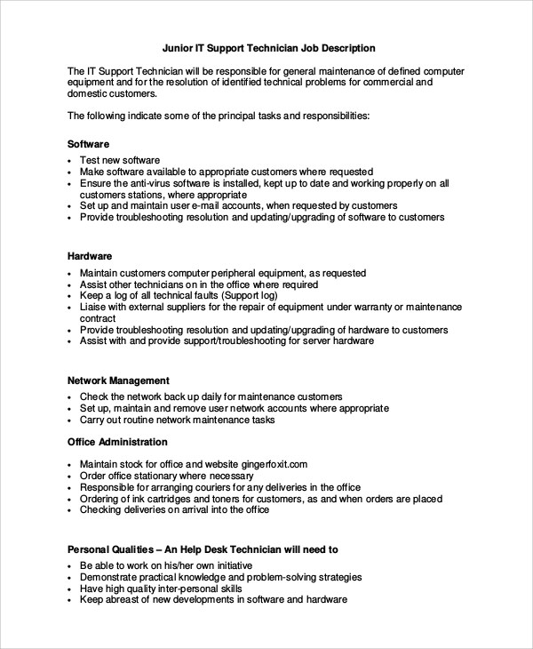 Sample IT Job Description - 10+ Examples in Word, PDF