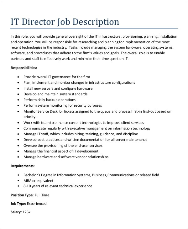 Sample IT Job Description - 10+ Examples in Word, PDF - it director job description