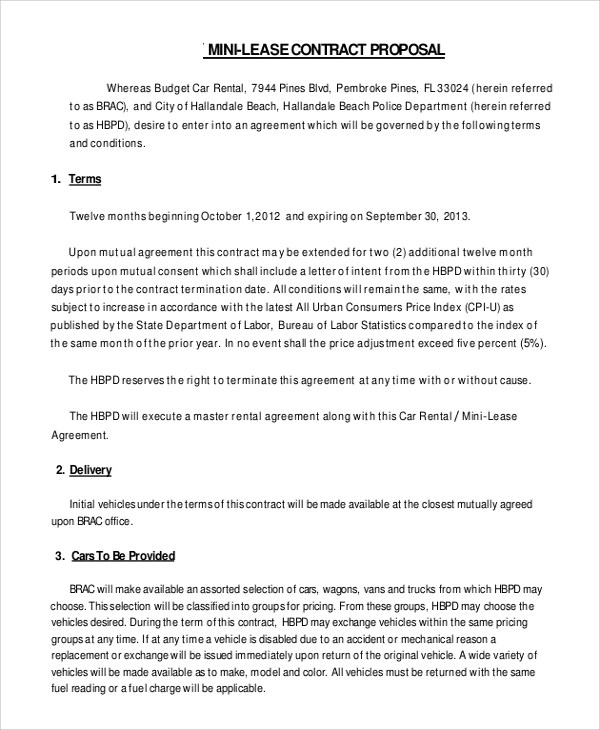 10+ Sample Lease Contracts Sample Templates - generic lease template