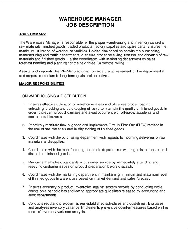 10+ Warehouse Job Description Samples Sample Templates