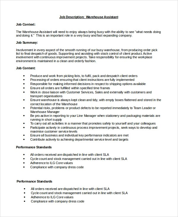 warehouse job description resume warehouse job description resume - warehouse job description resume