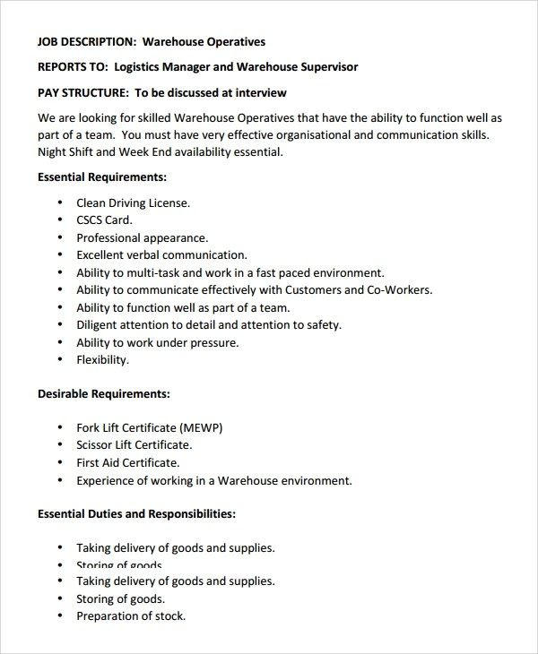 warehouse worker job description best resumes