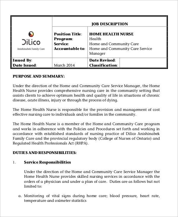 director of nursing job description