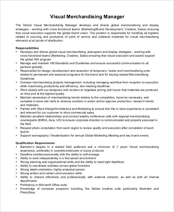 merchandiser job description for resume sample - Job Description For Merchandiser
