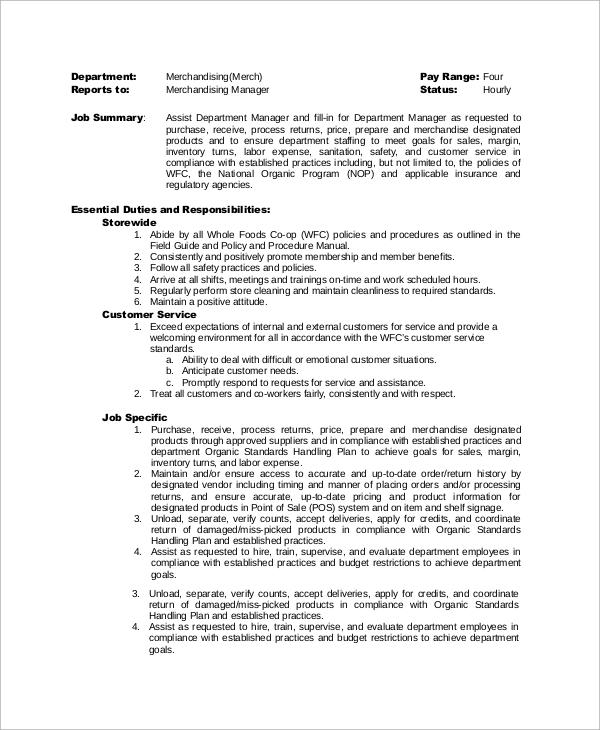 Merchandising Job Description. Sample Resume For Merchandiser Job