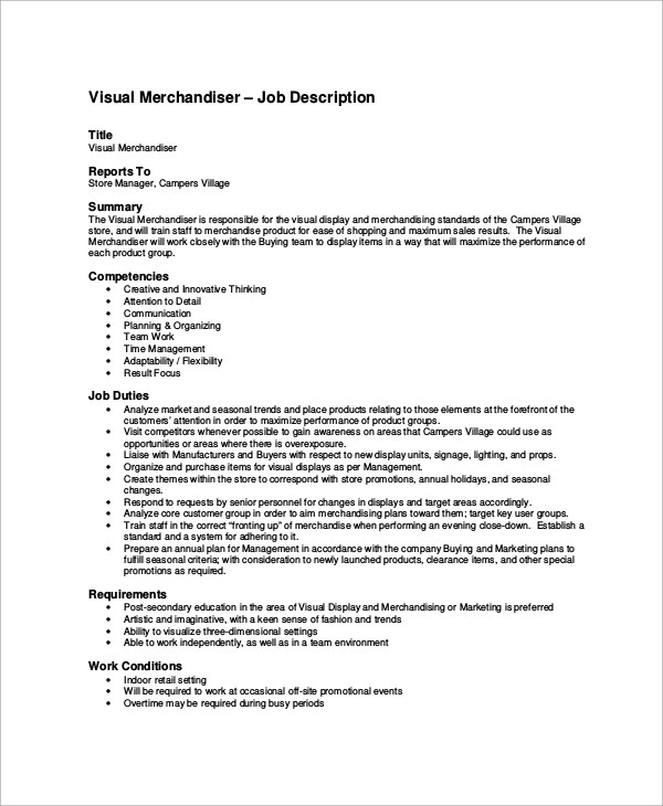 10+ Merchandiser Job Description Samples Sample Templates - merchandiser job description