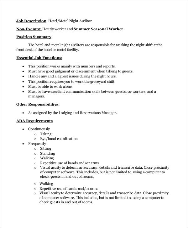 sample auditor job description 10 examples in word pdf night auditor job