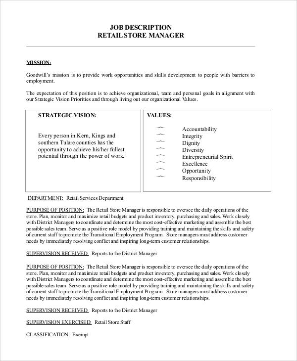 10+ Store Manager Job Description Samples Sample Templates - retail manager job description