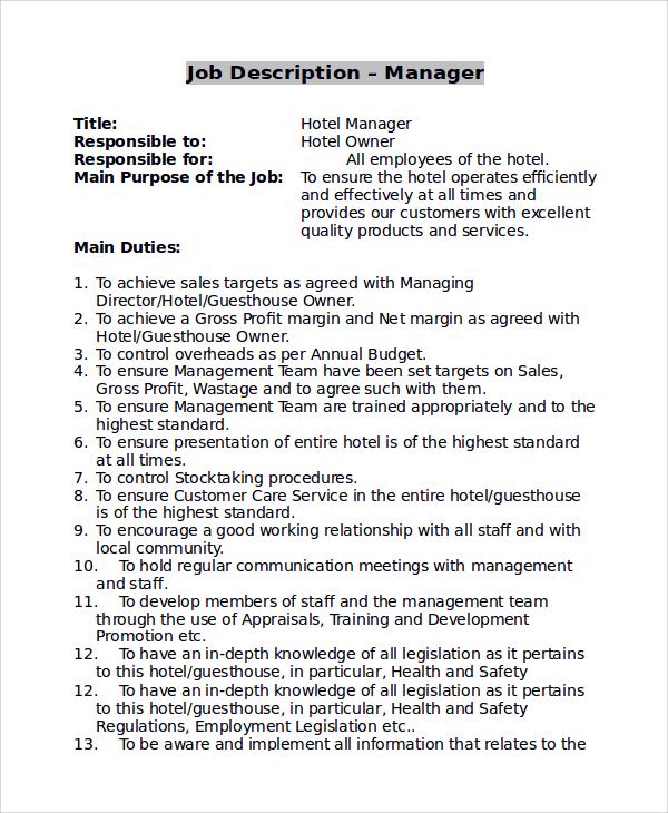 10+ Store Manager Job Description Samples Sample Templates