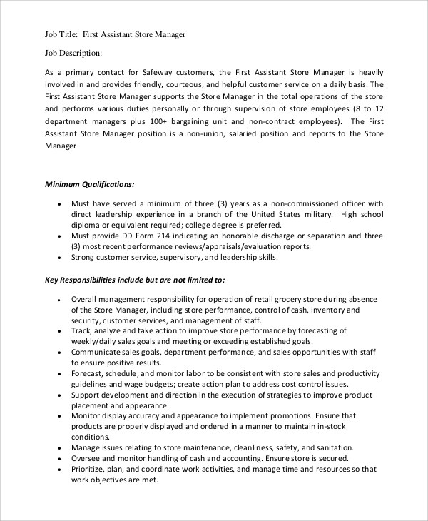 assistant manager job description teamxeo - Sales Assistant Job Description