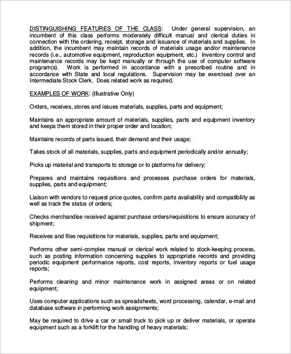 Logistics Clerk Job Description Job Performance Evaluation - accounting clerk job description