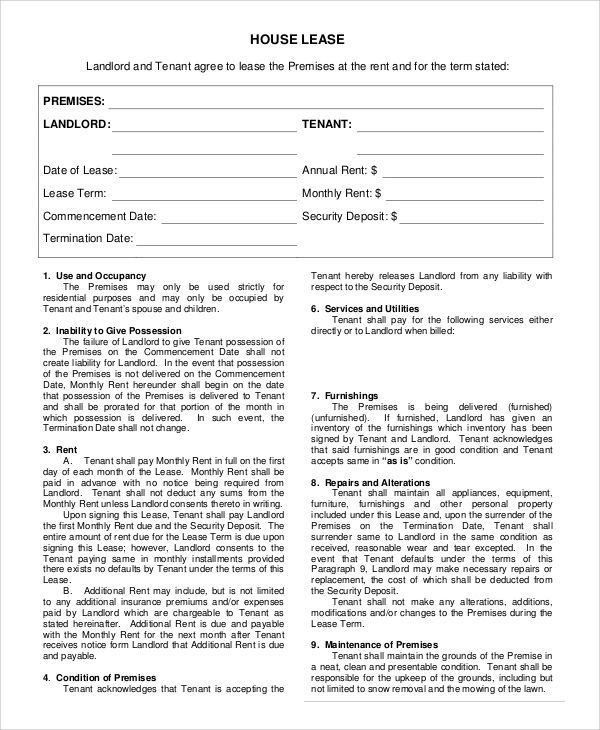 rent house agreement