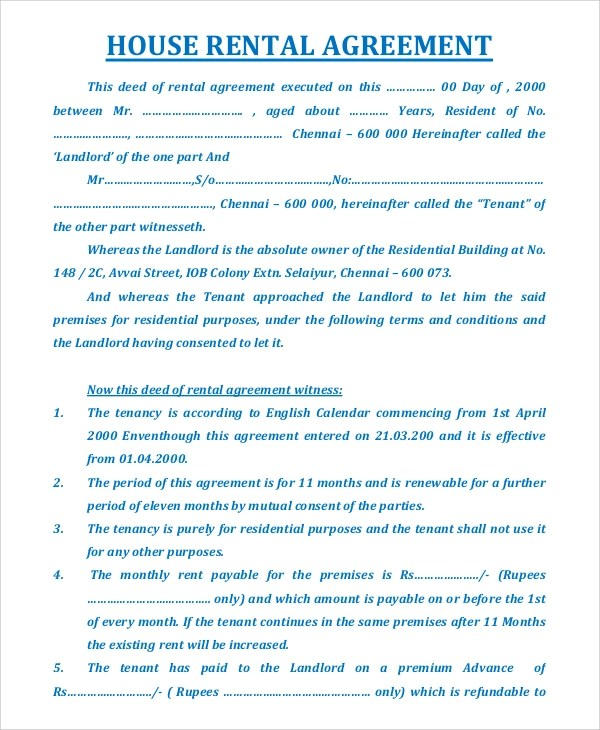 Sample House Rental Agreement - 19+ Examples in PDF, Word