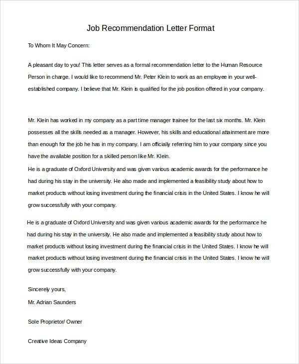 recommendation letter format - Militarybralicious - proper recommendation letter format