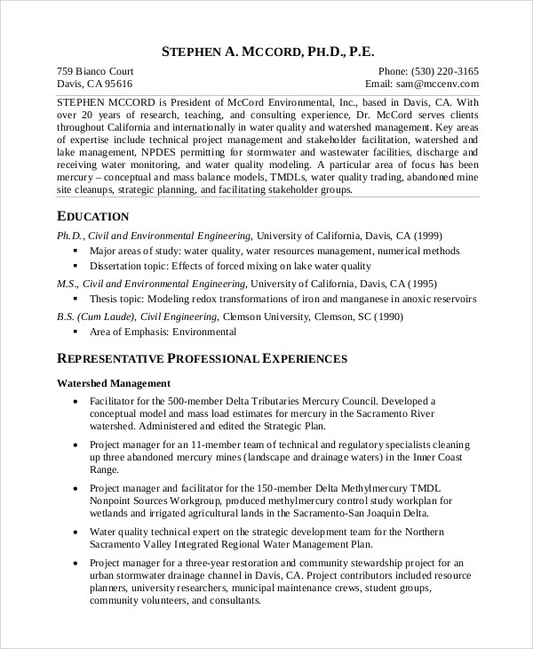 8+ Sample Project Management Resumes Sample Templates