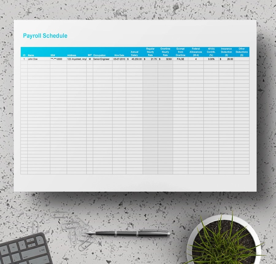 7+ Free Payroll Samples - (Ledger, Schedule)