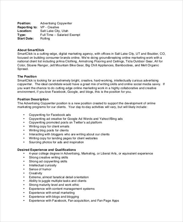 11+ Copywriter Job Description Samples Sample Templates