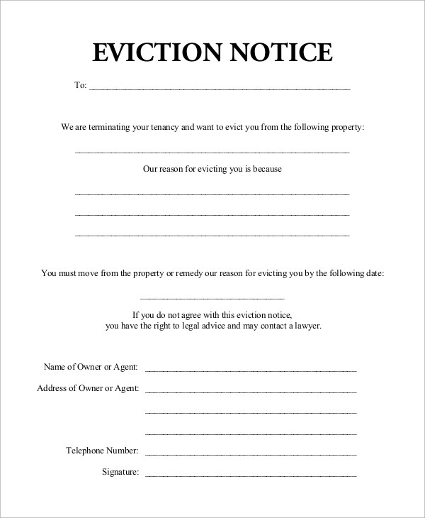 Sample Eviction Notice - 7+ Examples in Word, PDF - eviction notice example