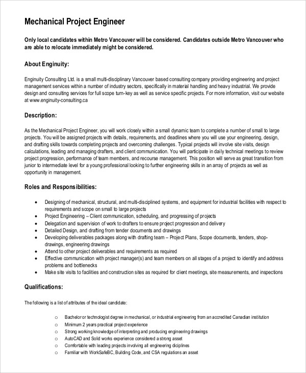 10+ Mechanical Engineering Job Description Samples Sample Templates