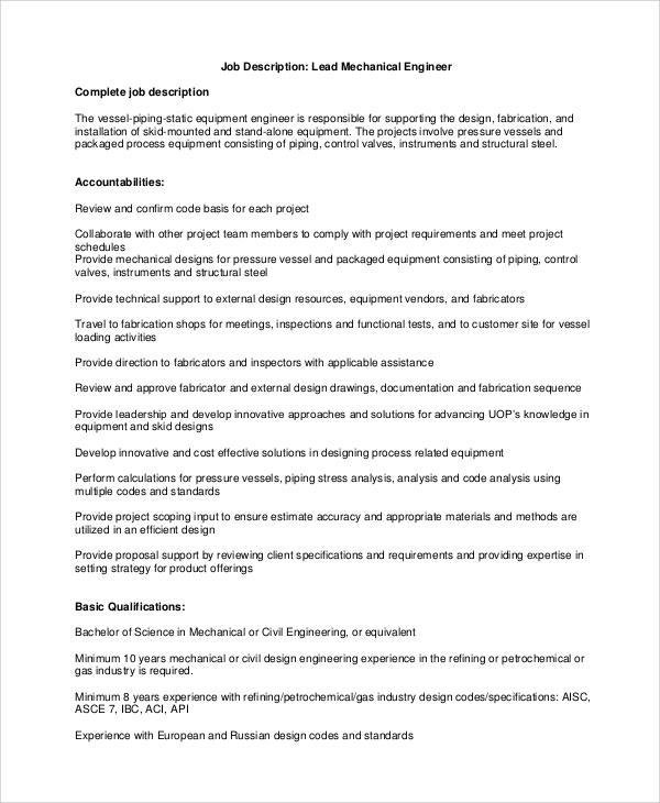10+ Mechanical Engineering Job Description Samples Sample Templates
