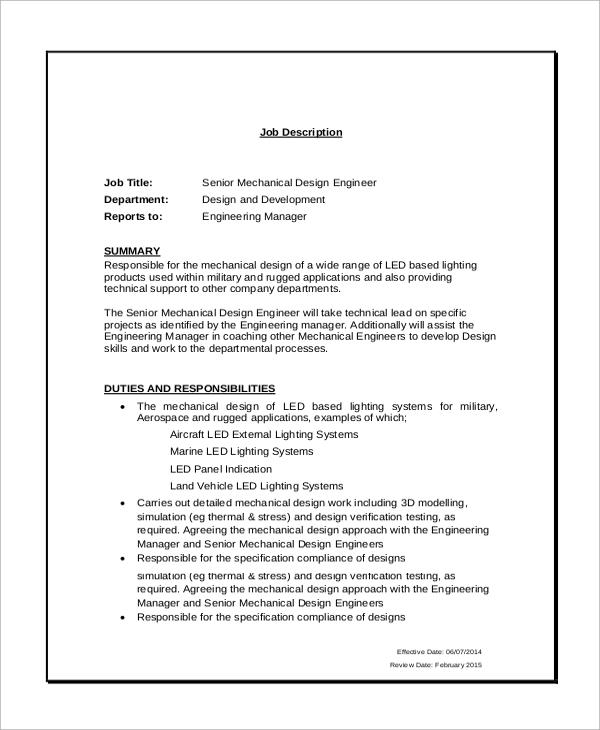 Exceptional Design Engineer Job Description
