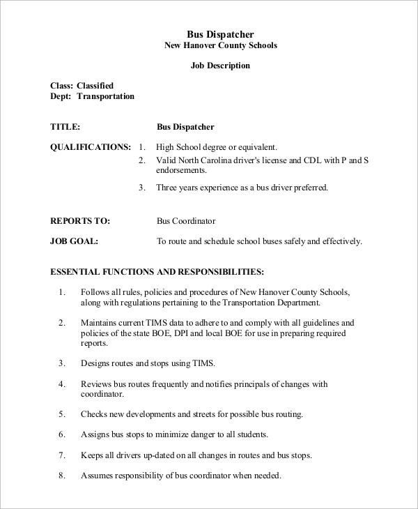 Sample Dispatcher Job Description - 11+ Examples in Word, PDF