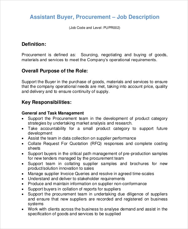 Great ... Sample Buyer Job Description   10+ Examples In PDF, Word   Package  Handler Job ... Design Inspirations