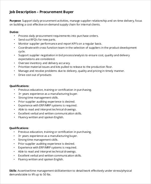 job description sample resumes