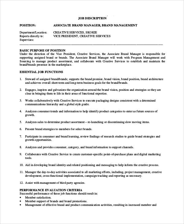 9+ Brand Manager Job Description Samples Sample Templates