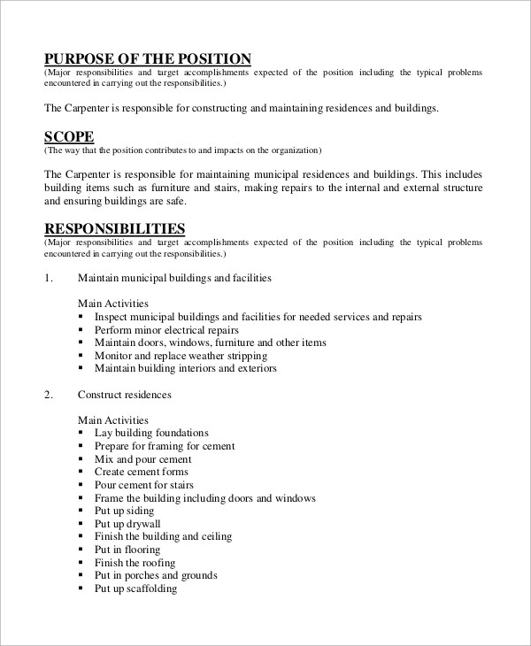 Sample Carpenter Job Description - 10+ Examples in Word, PDF - carpenter job description