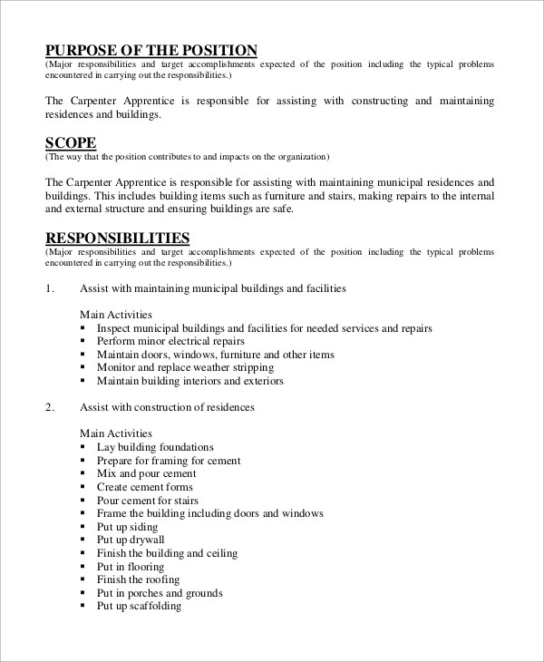 Sample Carpenter Job Description - 10+ Examples in Word, PDF - carpenter invoice template