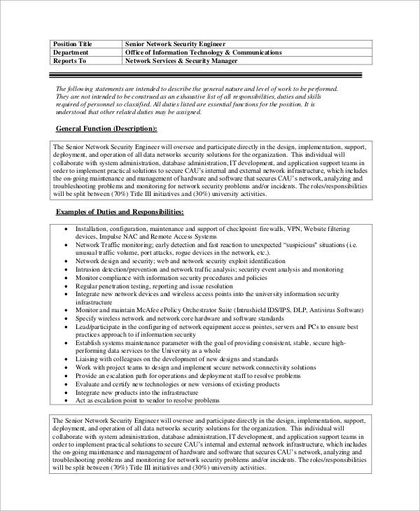 Großzügig Network Security Engineer Job Beschreibung Galerie