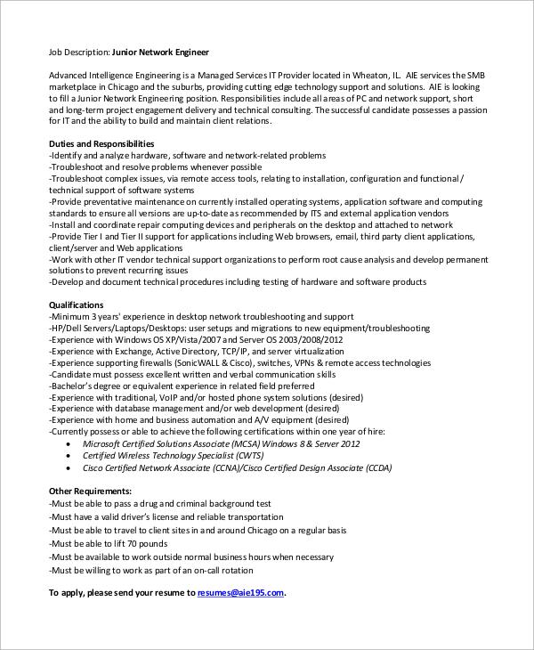 10+ Network Engineer Job Description Samples Sample Templates - junior network engineer sample resume