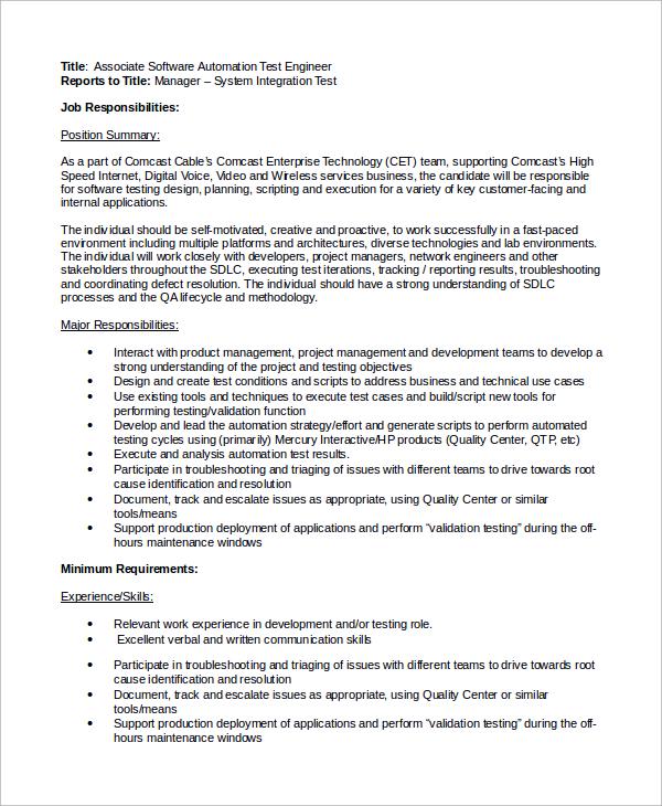 Doc#460595 Software Engineer Job Description u2013 Software Engineer - software developer job description
