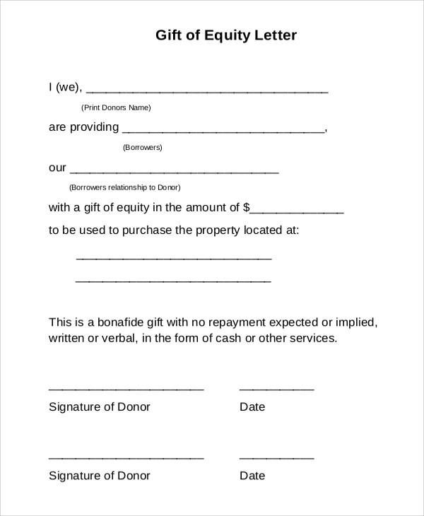 Sample Gift Letter - 9+ Examples in Word, PDF - gift letters
