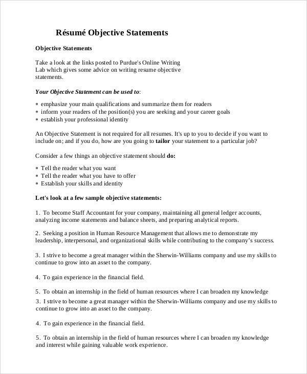 9+ General Resume Objective Samples Sample Templates - objective sentence for resume