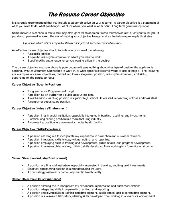 9+ General Resume Objective Samples Sample Templates