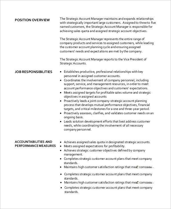Sample Accounting Manager Job Description - 10+ Examples in Word, PDF - account management job description