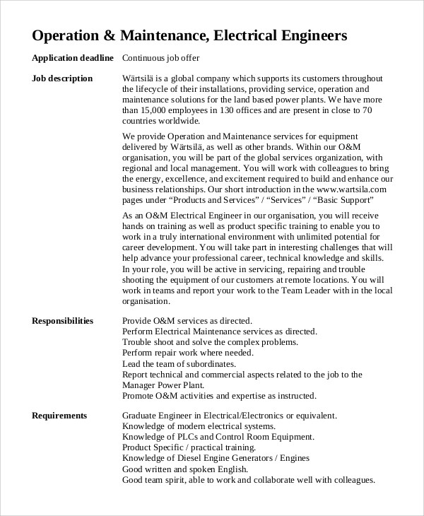 10+ Electrical Engineer Job Description Samples Sample Templates - engineer job description
