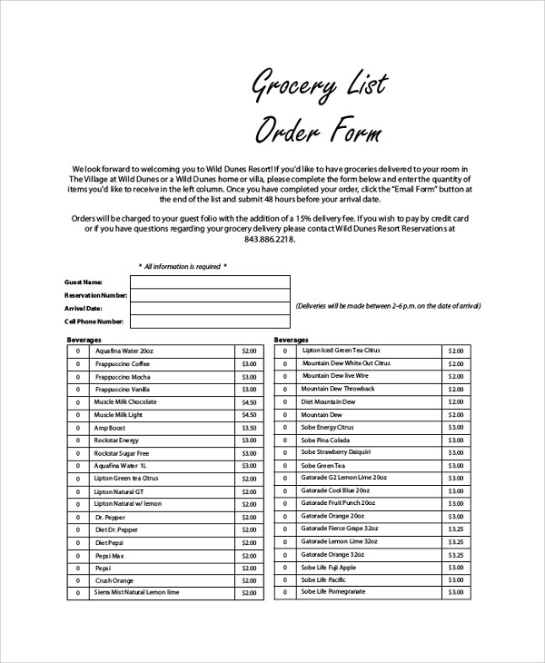 Sample Lists - example grocery list