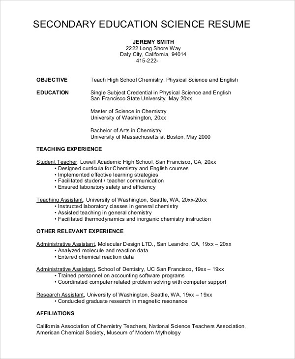 science teacher resume format - Ozilalmanoof