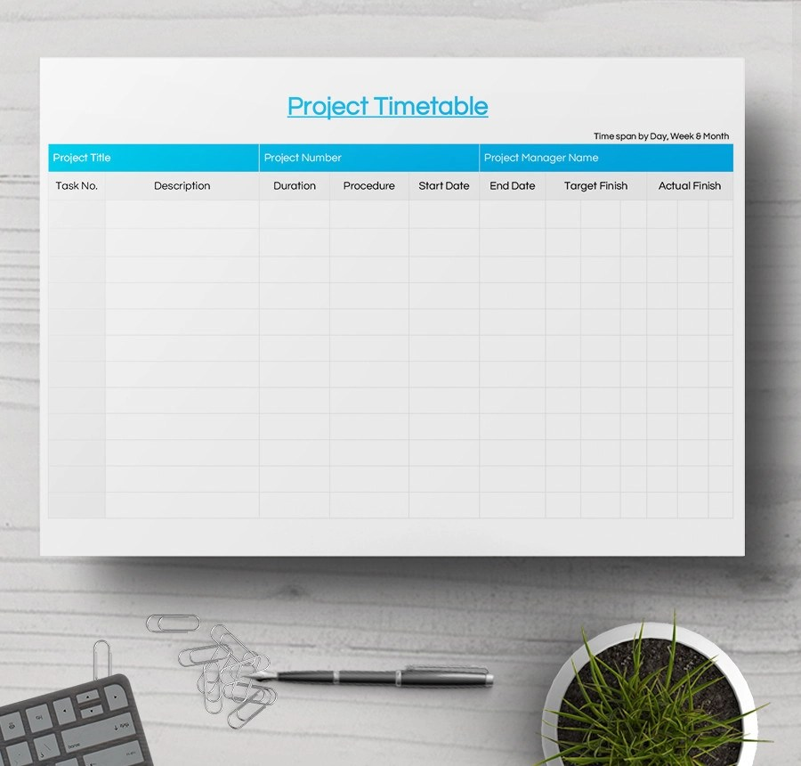 Free Timetable Samples Sample Templates - project timetable