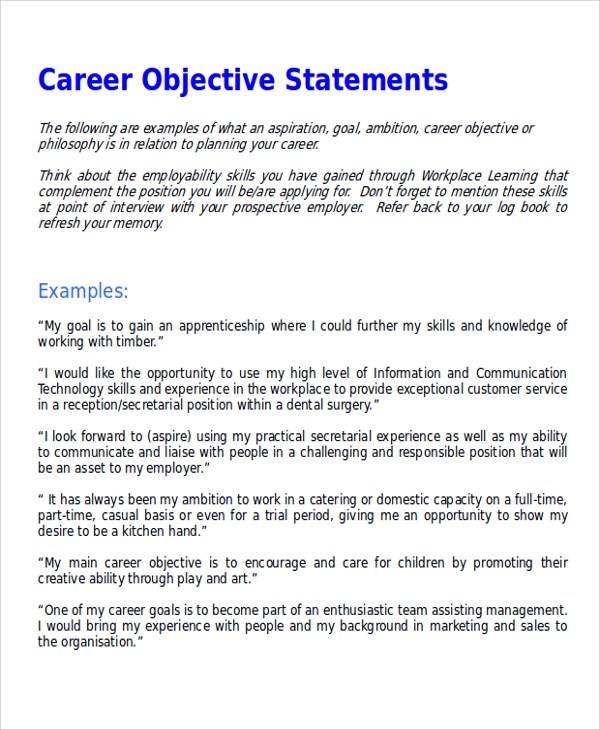 career objective statement - Teacheng