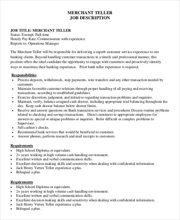 8+ Teller Job Description Samples Sample Templates