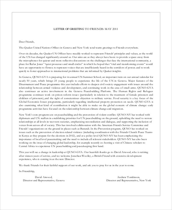 Sample Greeting Letter - 6+ Examples in Word, PDF