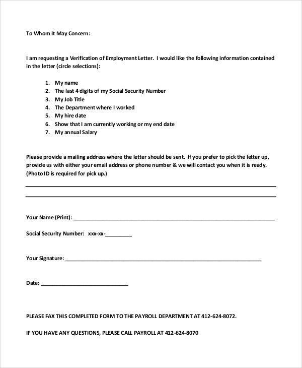 verification of employment letters