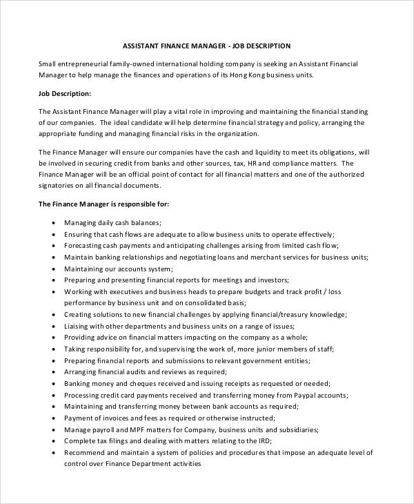 10+ Financial Manager Job Description Samples Sample Templates