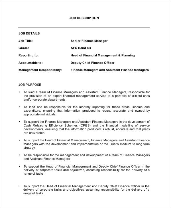 Sample Financial Manager Job Description - 10+ Examples in PDF, Word - financial manager job description