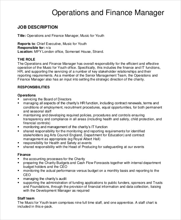 10+ Financial Manager Job Description Samples Sample Templates